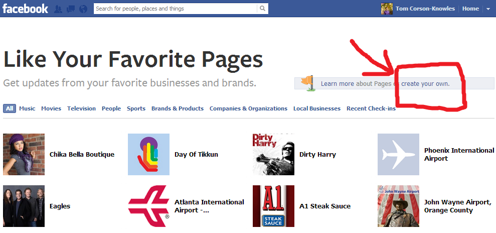 Facebook Create fan page step 1 picture